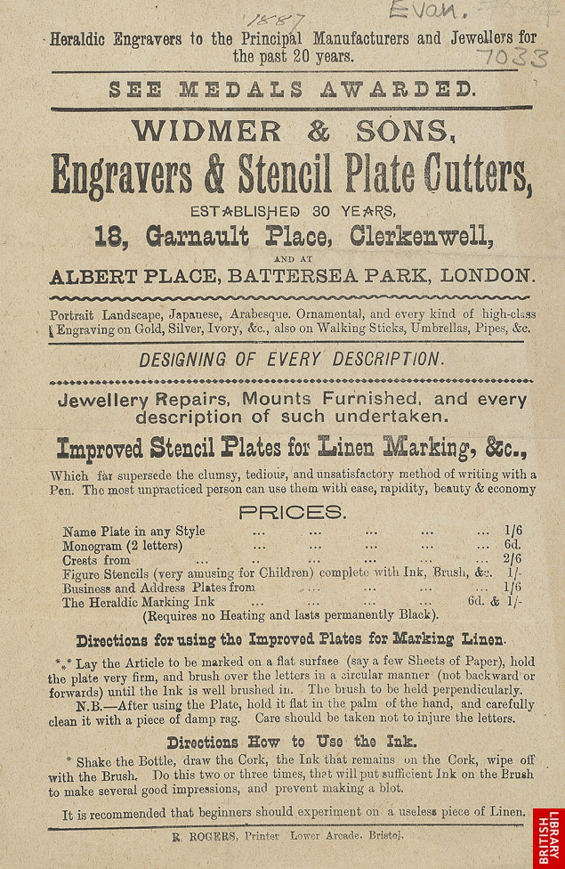 Advert for Widmer & Sons, Engravers & Stencil Plate Cutters